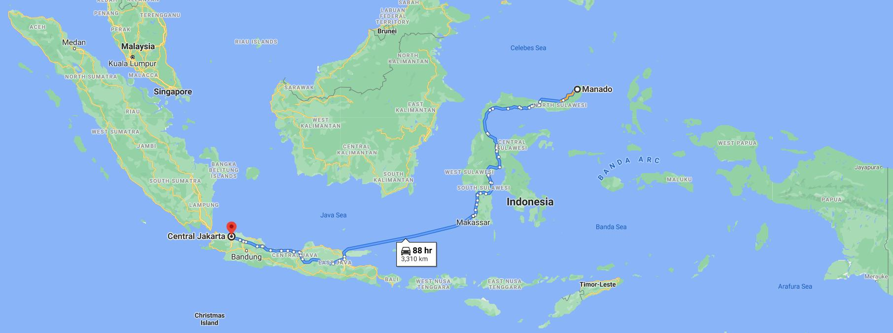 Approximate Fiber Optic Cable Route From Manado To Jakarta